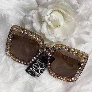 🆕NWT Rhinestone Studded Large Frame Sunglasses